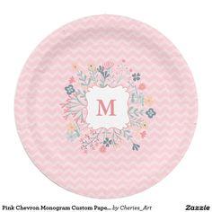 Pink Chevron Monogram Custom Paper Plates 9  9 Inch Paper Plate  sc 1 st  Pinterest & Dia De Muertos Paper Napkins Black Sugar Skulls. Matching paper ...