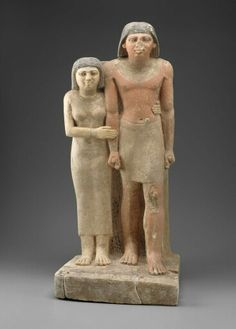 Limestone pair statue of Nefu and Khenetemsetju. Old Kingdom. 5th dynasty. Reign of Niuserra to Unas. 2455–2350 B.C. | Museum of Fine Arts, Boston