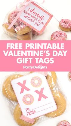Our free printable Valentine's Day gift tags make an easy yet thoughtful Valentine's Day gift idea! Simply download our XOXO donut gift tags and attach them to a bag of doughnuts to give to a special someone or a BFF! Choose from a variety of designs and find more Valentine's Day ideas on the Party Delights blog.