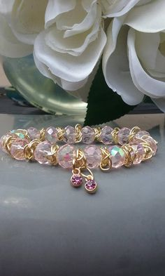 Birthday Gifts 7 long  Pink glass Beads Birthstone