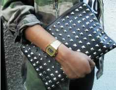 The clutch-summer's go-to purse-gets a fall or winter makeover with the addition of studs and a deeper color palette.