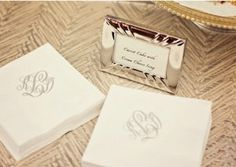 Personalize your wedding. Monogrammed napkins.