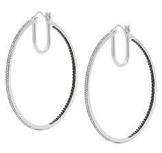 Tracey Bregman Diamond Hoop Sterling Silver Earrings