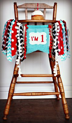 DR SEUSS Thing 1 Thing 2 Cat In the Hat Birthday Age High Chair Highchair Birthday Banner/Party/Photo Prop/Bunting/Backdrop/Red Black Aqua