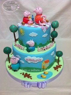 peppa pig cakes birthday cakes-so cute 2nd Birthday Cake Boy, Peppa Pig Birthday Cake, Little Man Birthday, Birthday Ideas, Dora Cake, Fondant, Pig Party, Character Cakes, Cakes For Boys