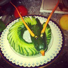 Cucumber dragon gurken drache vegetables gemüse rohkost kids fun food buffet