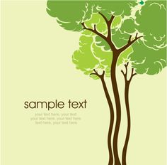 Cartoon line art tree 03 - vector