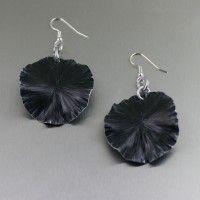 Black Anodized Aluminum Lily Pad Earrings – Medium. A great color blocking accessory!   http://www.johnsbrana.com/black-anodized-aluminum-lily-pad-earrings-medium.html  $40.00