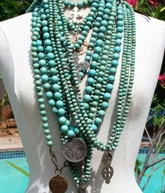 For the love of turquoise: Strands & strands of turquoise beaded necklaces