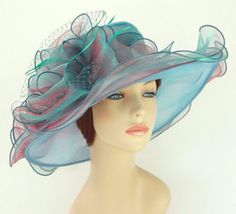 Wholesale-New Church Kentucky Derby Wedding Cocktail Tea Event Party Organza Dress Hat 3190 Turquoise