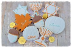 Decorated Hanukkah Cookies, Menorah, Dreidles, Star, Leaves, Acorns, Blue, White, Copper, Lite Blue, Gold, Thanksgivukkah Personalized
