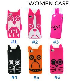 Silicon Lovely Animal Women Cat Dog Owl Case for iPhone 4/4s/5/5s