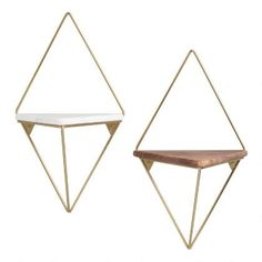 A geometric decor update with a triangular platform crafted from two distinct materials, our exclusive wall shelf offers a luxe look with a gold-metal diamond Marble Shelf, Decor, Wall Cubbies, Wood And Metal, Hanging Shelves, Shelves, Geometric Decor, Wall Shelves, Diamond Wall