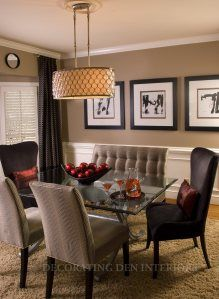 I like this dining room. A blend between contemporary and traditional- seating but different table