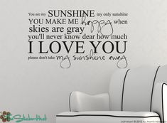 You Are My Sunshine My Only Sunshine - Vinyl Lettering - Nursery - Bedroom Decor - Sticky Vinyl Wall Accent Art Words Stickers Decals 1330 by thestickerhut on Etsy Wall Stickers, Wall Decals, Vinyl Decals, Sticky Vinyl, Wall Text, Cricut, Text Pictures, Wall Quotes, Wall Sayings