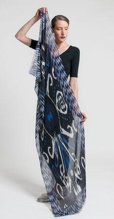 Etro Cashmere/Silk Lightweight Ikat Print Scarf in Black | Santa Fe Dry Goods & Workshop #etro #etroclothing #etrowomen #cashmere #silk #scarf #scarves #ikat #print #pattern #clothing #fashion #style #accessory #santafe #santafedrygoods