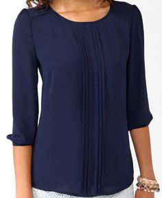 Button Back Pintucked Blouse | FOREVER21 - 2025109164