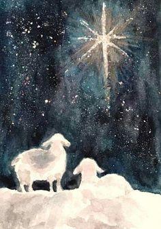 Christmas Canvas, Christmas Nativity, Christmas Star, Christmas Crafts, Christmas Decorations, Merry Christmas, Painted Christmas Cards, Christmas Paintings On Canvas, Watercolor Christmas Cards