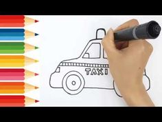 Step by step draw easy How to drawing and coloring a taxi Smart kids only Only Child, Step By Step Drawing, Coloring For Kids, Taxi, Easy Drawings, Colors, Easy Designs To Draw, Colour, Simple Drawings
