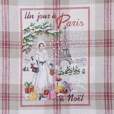 Lin : Torchon « Un jour à Paris à Noël » à broder au point de croix