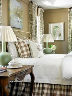 Love the big check I kind of want to copy this bed room.  Buffalo checked bed skirt and matching pillow, patterned draped in same color, and white bedding. I am doing my bedroom like this. Francie Hargrove Designer