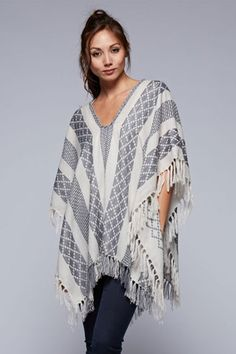 The Alison Fringe Poncho in Cream and Grey