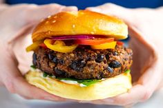 These extra easy black bean burgers taste amazing and come together in minutes! These are dairy, egg, and gluten free and will make both the meat eaters and non-meat eaters in your life happy! Black Bean Burgers, Thing 1, Snacks, Dessert, Vegan Vegetarian, Vegetarian Recipes, Bean Recipes, Lunch Recipes, Salad Recipes
