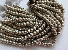 WHOLESALE 5 Strands Silver Pyrite Beads Silver by gemsforjewels