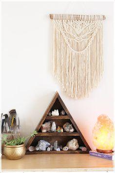 Geometric Crystal Shelf . Wooden Triangle Shelf . Crystal