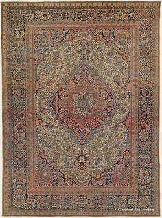 "MOTASHAM KASHAN Central Persian (SOLD) 8' 0"" x 10' 9"" Circa 1850  http://gallery.claremontrug.com/oriental-carpets/antique-rugs/persian/neutral/motasham-kashan-central-persian-4144"