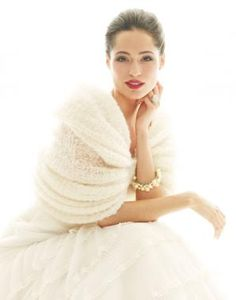 Lovely winter bride look...digging the loose shawl brides - stay warm on your winter wedding day!