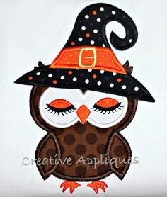 Witch Owl Halloween Machine Embroidery by Creativeapplique on Etsy, $4.00