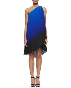 One-Shoulder+Asymmetric+Ombre+Dress+by+Halston+Heritage+at+Neiman+Marcus.