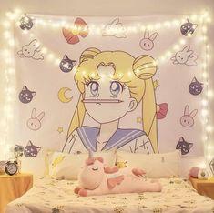 Cute Room Ideas, Cute Room Decor, Room Ideas Bedroom, Home Decor Bedroom, Kawaii Bedroom, Moon Tapestry, Moon Decor, Game Room Design, Gamer Room
