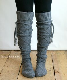 Alpine Thigh High Slouch Sock  Mid Grey thick by GraceandLaceCo, $39.00.... I need these!!