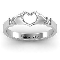 Oh my gosh this is exactly what I wanted in a wedding band. It would match my engagement ring perfectly! Sculpted Hand Heart Ring #jewlr