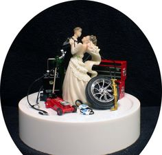 Car AUTO MECHANIC Wedding Cake Topper Bride by YourCakeTopper