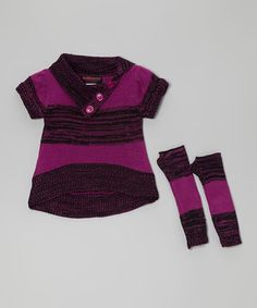 Take a look at this Purple Short-Sleeve Sweater & Arm Warmers - Toddler & Girls by Dollhouse on #zulily today!