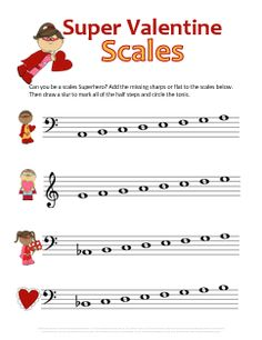 Super piano scales! Great music theory worksheet for Valentines Day! I love freebies!