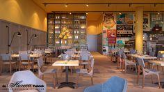New restaurant concept. Arnhem the Netherlands. 3D drawing. Design by Rein Rambaldo (De Horeca Fabriek)