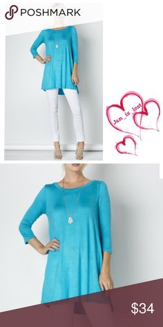 Turquoise 3/4 Sleeves A-Line Tunic Top Turquoise 3/4 Sleeves A-Line Tunic Top  Fabric: 95% Rayon 5% Spandex.  FIT: Woman's size Small (2-4) Medium (6-8) Large (10-12). True to size. 🚫No Trades🚫 ✅ Reasonable Offers Considered*✅ *Please use the blue 'offer' button to submit an offer.👍🏻 Any questions please ask! Tops Tunics