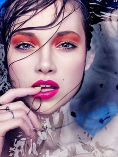 Beauty Inspiration | Hot Pink Lips and Tangerine Orange Eyes #makeup #bright #colorful #look #pmtsdanbury
