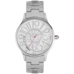 Betsey Johnson Watch, Women's Stainless Steel Bracelet 38mm BJ00040-01 (2,190 MXN) ❤ liked on Polyvore featuring jewelry, watches, bracelets, accessories, water resistant watches, fuschia jewelry, quartz movement watches, silver tone watches and betsey johnson jewelry