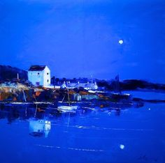"""Gloaming Reflections Ellenabeich Isle of Seil"" John Lowrie Morrison Paintings I Love, Seascape Paintings, Painting Prints, Landscape Paintings, Uk Landscapes, West Coast Scotland, Sketch Painting, Beach Art, Abstract Landscape"