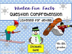 This download will create everything you need to make 48 individual fun fact cards about Winter and a fun Snowboarding Game.All text is nonfiction and covers many aspects of Winter including snow, snowflakes, skiing, and snowboarding. Use these cards to target auditory listening skills for details.