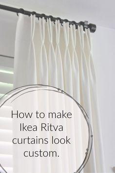 how to make ready made Ikea Ritva curtains look like expensive custom drapes ikea hack.how to make ready made Ikea Ritva curtains look like expensive custom drapes. Bedroom Hacks, Ikea Bedroom, Ikea Beds, Bedroom Ideas, Pleated Curtains, Drapes Curtains, Ikea White Curtains, Sewing Curtains, Curtains On Hooks