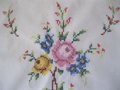 Runner, Cross Stitch Runner, Roses, Cottage Charm, French Country  Beautifully stitched cross stitch runner with a lot of detail. It is a soft