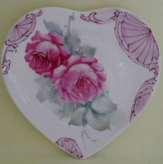 Hand Painted Pink Roses Scrolls.China Heart Plate Shabby Valentine Ship Disc