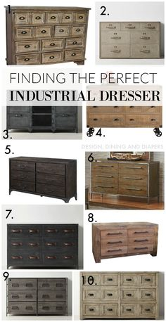 So we've been on a hunt for a new dresser in our master bedroom and it's taking me awhile to pull the trigger on anything. So here is my dilemma, we had a temporary dresser in there that totally… Industrial Dresser, Industrial Bedroom Furniture, Industrial Interior Design, Industrial Interiors, Industrial House, Industrial Style, Home Furniture, Kitchen Furniture, Industrial Nursery