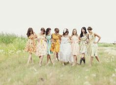 Love the missed matched yet match flower print bridesmaids dresses